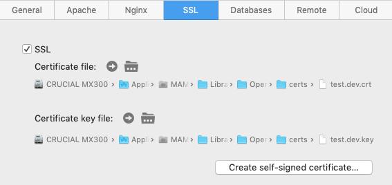 MAMP Pro - Onglet SSL